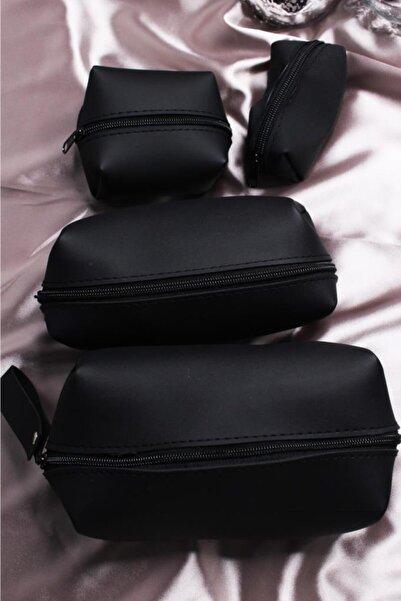 MUJGAN 4'lü Siyah Makyaj Çantası