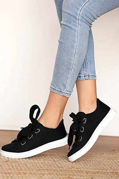 Pembe Potin Kadın Siyah Keten Ayakkabı
