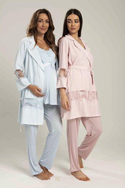 Bone Pijama Kadın Bone Saten Sabahlıklı Lohusa 3'lü Pijama Takım
