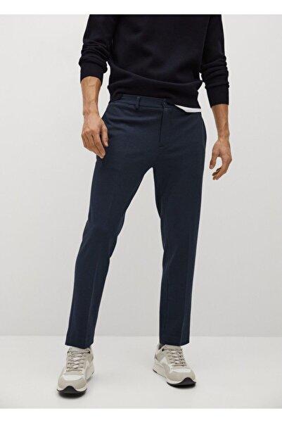 MANGO Man Erkek Lacivert Dar Kesim Koton Pantolon