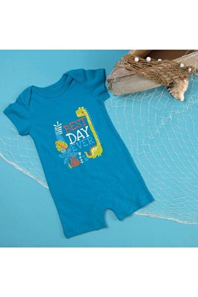 Bambaki Erkek Bebek Mavi Dinozor Adası Süprem Kısa Kol Reçme Bisiklet Yaka Tek Barbatöz Tulum