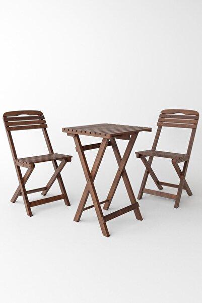 Meya Dekor Minderli 60x60 Cm Masalı Balkon Bahçe 3'lü Katlanabilir Bistro Set 2 Sandalye 1 Masa