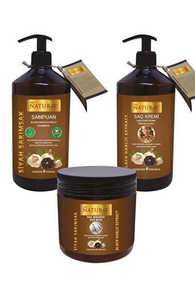 Naturix Saç Dökülmesine Karşı Etkili Organik Siyah Sarımsak Özlü Şampuan + Saç Kremi + Saç Maskesi 3'lü Set