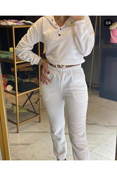 NİCE Beyaz 3 Iplik Şardonlu Önden Çıtçıtlı Eşofman Takımı