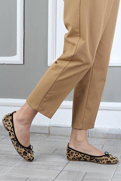 Modabuymus Kadın Sarı Bıyık Fiyonklu Leopar Babet Ayakkabı