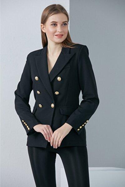 JADE Kadın Slim Fit Gold Düğme Blazer