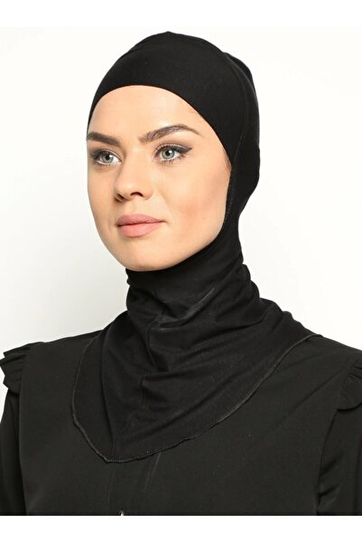 Ecardin Boyunluklu Hijab Bone - Siyah -