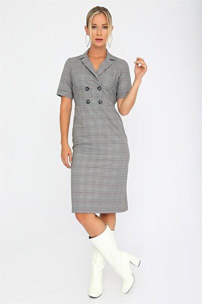 Chima Ekose Kruvaze Elbise