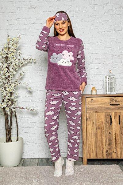 Manolya Kadın Mor Kışlık Uzun Kollu Bayan Peluş Polar Pijama Takımı