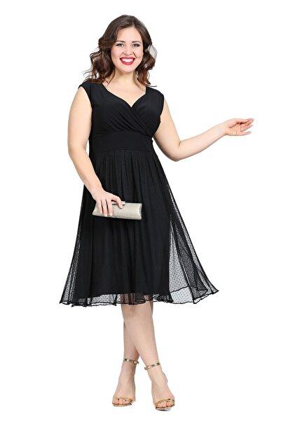 ANGELINO Kadın Siyah Puantiye Tüllü Mini Abiye Elbise KL7878