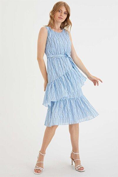 Chima Eteği Fırfırlı Elbise