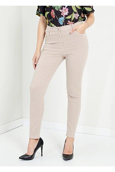 Adze Kadın Taş Dar Paça Slim Fit Pantolon Tas 40