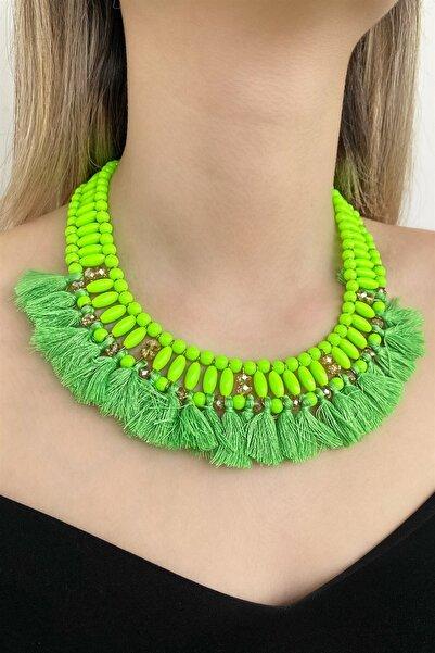 TAKIŞTIR Özel Tasarım Yeşil Renk Boncuk Detaylı Kolye