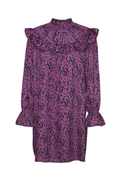 Vero Moda Fırfırlı Uzun Kollu Desenli Elbise 10246630 Vmbecky