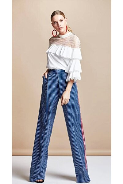 SERPİL Kadın Lacivert Çizgili Pantalon