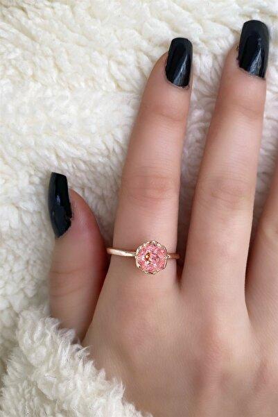 TAKIŞTIR Rose Renk Pembe Lotus Çiçeği Figürlü Ayarlanabilir Yüzük