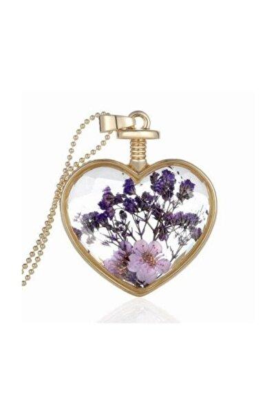 Chavin Yaşayan Kalp Kristal Cam Kurutulmuş Çiçek Kolye dr41