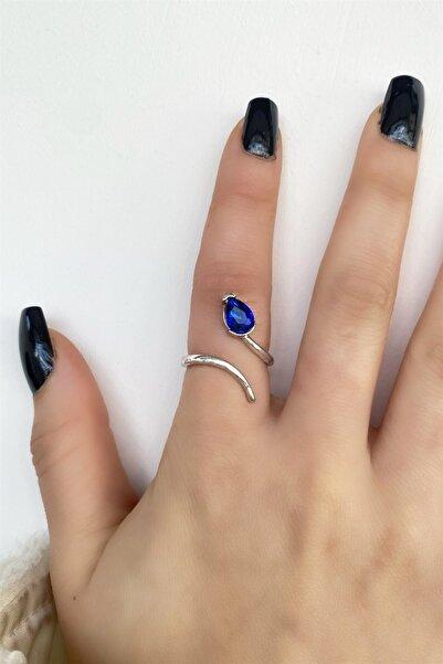 TAKIŞTIR Gümüş Renk Mavi Damla Figürlü Ayarlanabilir Yüzük