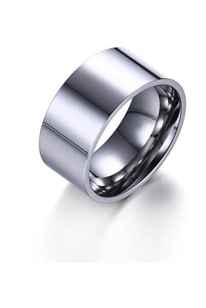 Chavin 10mm. Geniş Parlak Gri Kadın Erkek Çelik Alyans Yüzük Dt01