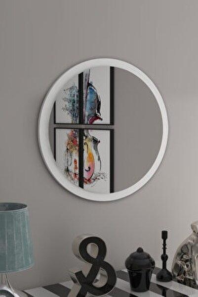 Yuvarlak Beyaz Duvar Salon Ofis Aynası 60cm
