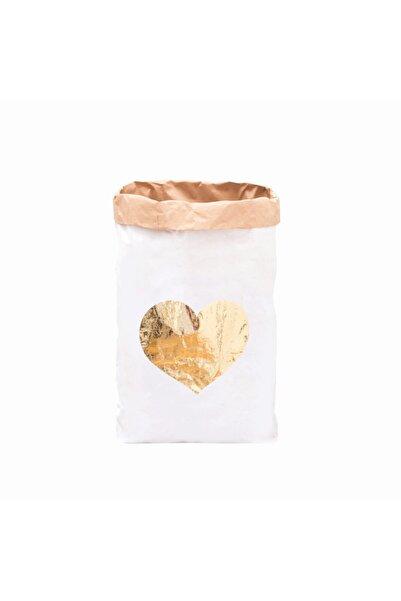 BugyBagy Gold Kalp Paperbag Dekoratif Çamaşır ve Oyuncak Sepeti Saklama Kutusu