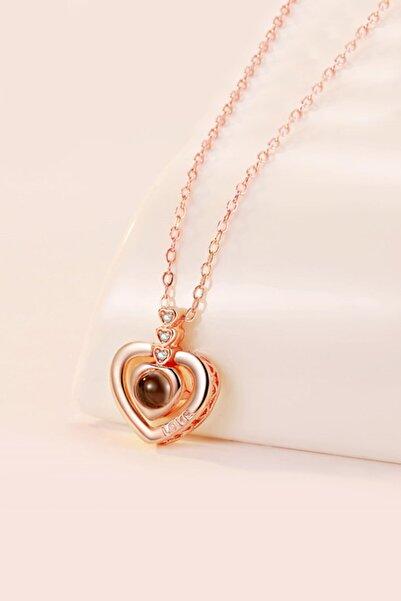 Chavin 100 Dilde Seni Seviyorum Rose Love Kalp Kolye Ec84rs
