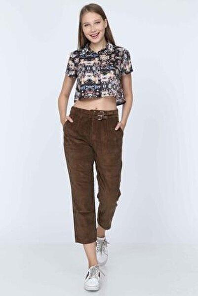 Kadın Kahverengi Yüksek Bel Mom Kadife Pantolon