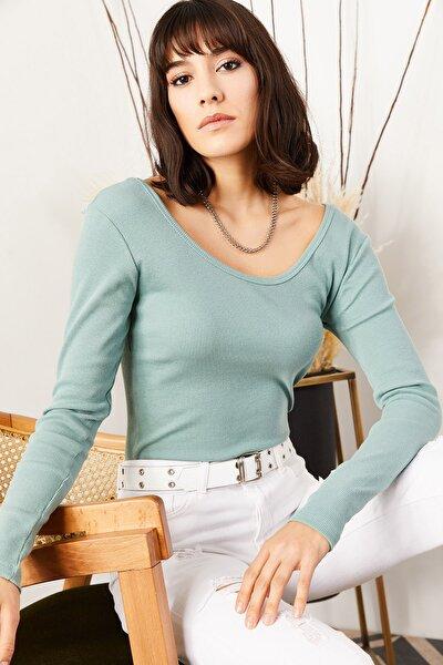 Olalook Kadın Su Yeşili Geniş Yakalı Kaşkorse Bluz BLZ-19000722