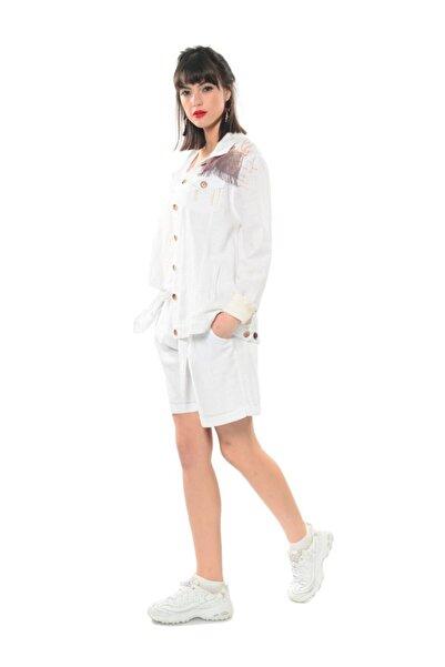 Etnik Esintiler Kadın Beyaz Keten Fileli Mont Yazlık Ceket