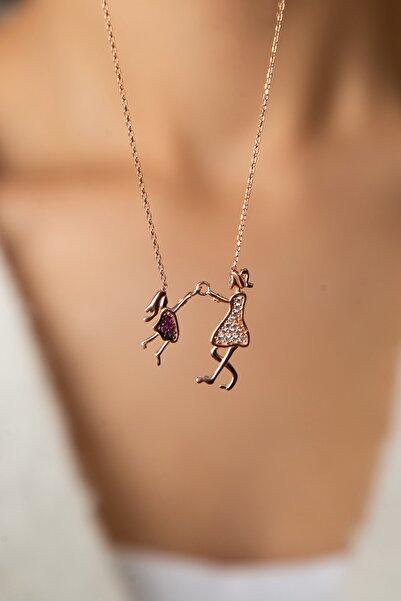 Elika Silver Kadın Kadın Anne Ve Çocuk Model Rose Kaplama 925 Ayar Gümüş Kolye