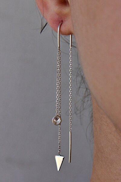 Argentum Concept Kadın Üçgen Motifli Gümüş Tasarım Zincir Küpe K041101