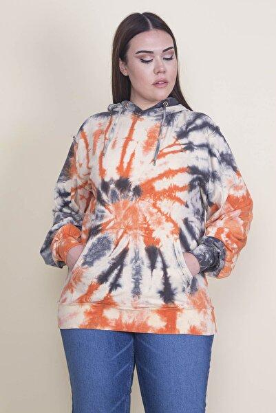 Şans Kadın Turuncu Kanguru Cepli Kapşonlu Sweatshirt 65N21886