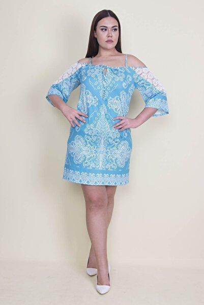 Şans Kadın Turkuaz Dantel Detaylı Elbise 65N21878