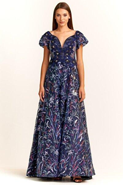 WHİTE ANGEL Kadın Lacivert Yarım Kol V Yaka Payetli Işıltı Abiye Elbise