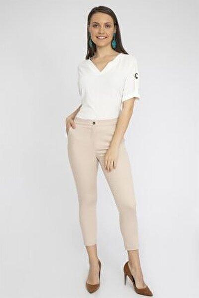 Kadın Bej Slim Fit Pantolon Y19Pa223