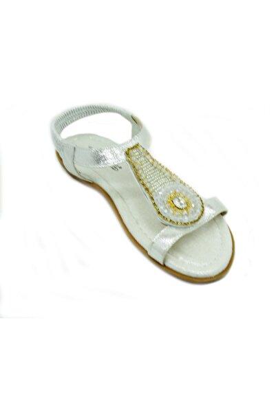 PUNTO Kadın Gümüş Taşlı Sandalet 563075