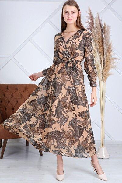 Elbise Delisi Kadın Etnik Krem Renk Etnik  Desen Kruvaze Yaka Büyük Beden Şifon Elbise