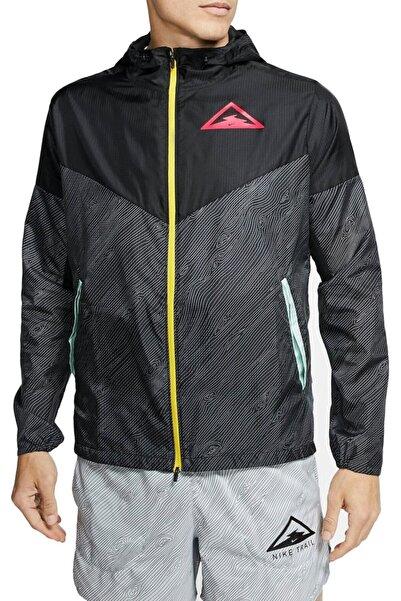 Nike Unisex Siyah Gri Windrunner Men's Hooded Trail Running Jacket Cq7961-010