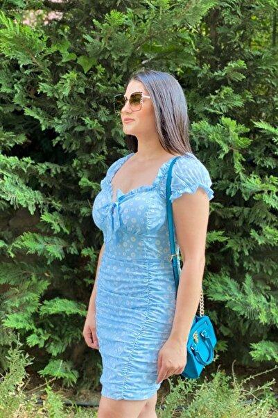 Kavuniçi Butik Kadın Bebek Mavisi Drapeli Mini Elbise