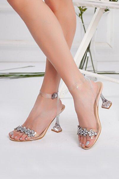 Miss Nysa Kadın Şeffaf Taşlı Stiletto Topuklu Ayakkabı