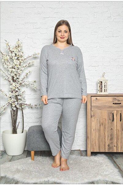 Pijamanya Kadın Gri Büyük Beden Çiçek Nakışlı Yaka Detaylı Pijama Takımı