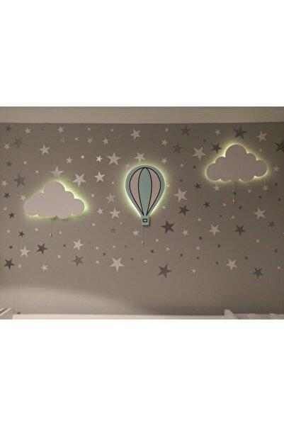 BugyBagy Balonlu 3lü Ahşap Lamba Duvar Aydınlatma Seti 100 Adet Beyaz Ve Gri Yıldız Sticker
