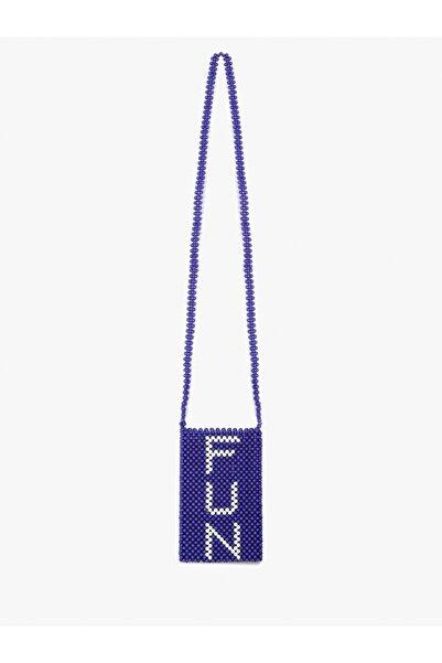 Twist Kadın Mavi Boncuk örme kol çantası TS1200052034