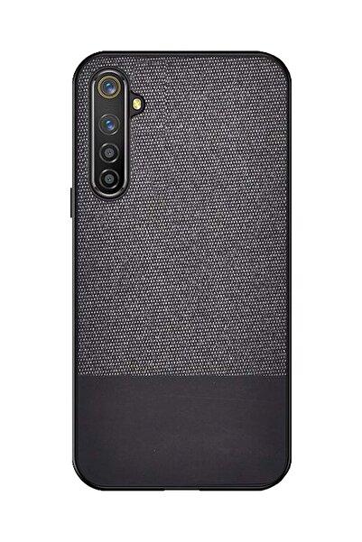 Microcase Oppo Realme 6 Pro Fabrik Serisi Kumaş Ve Deri Desen Kılıf - Siyah