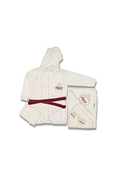 Miniworld Erkek Çocuk Bordo Bornoz Havlu Takımı
