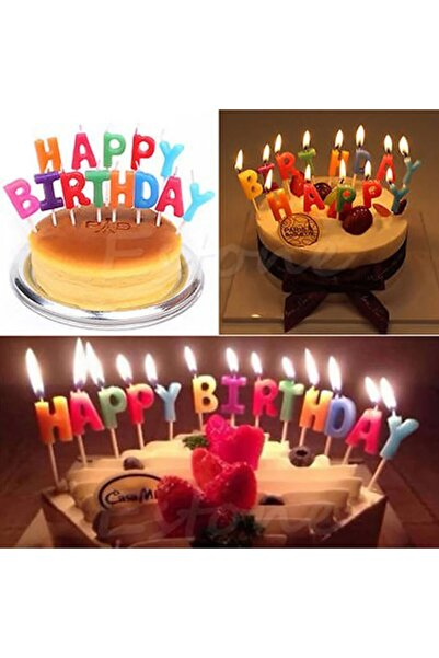 KAZIM ALIÇ Happy Birthday Yazılı Rengarenk Pasta Mumu Parti Süsü
