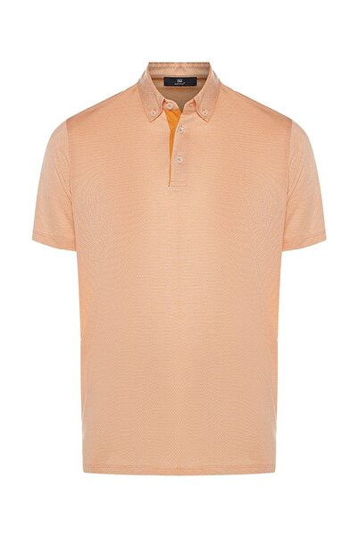 Bisse Erkek Turuncu Regular Fit Desenli Polo Yaka T-shirt
