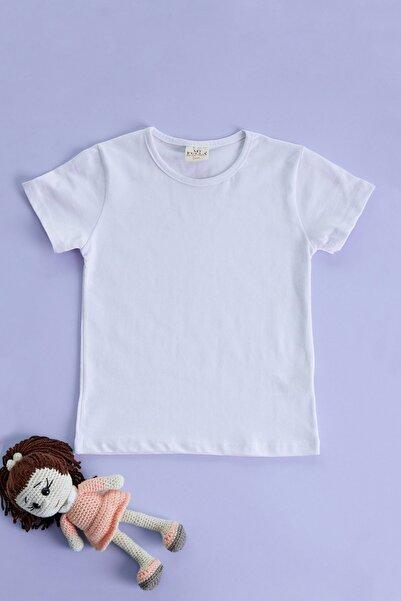 Fulla Moda Kız Çocuk Beyaz Bisiklet Yaka Tshirt