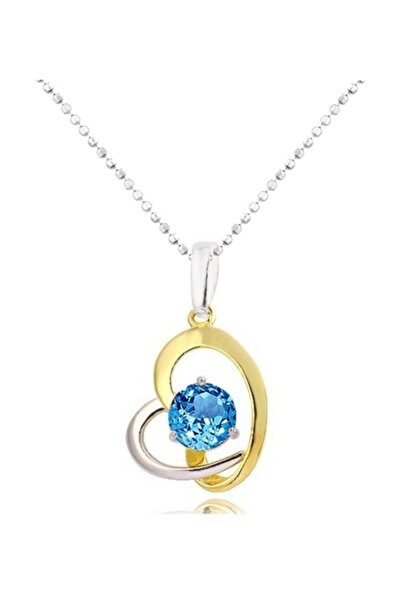 Chavin Kadın Mavi Topaz Taşlı Altın Kaplama Kalp Gümüş Kolye Ce10tpz