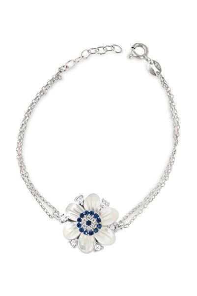 Chavin Kadın Beyaz Sedefli Çiçek Nazar Gümüş Bileklik Cs82